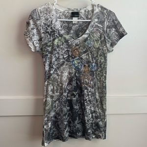 Daytrip Abstract Sheer Bedazzled Tee